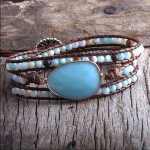 🔹New🔹Crystal Boulder Wrap Boho Bracelet
